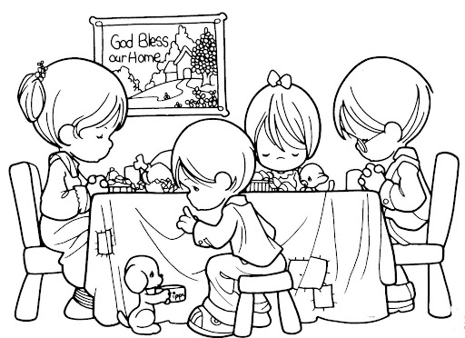Family praying before eating, coloring pages  Coloring Pages