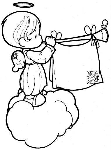 Musical angel coloring page