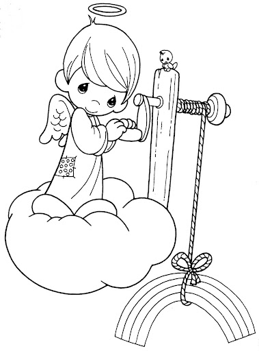 Angel with a rainbow precious moments printables for Precious moments angel coloring pages