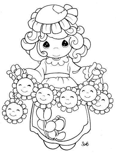 Spring girl coloring pages