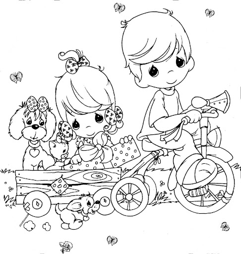 kids on bike coloring pages