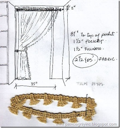 Interior Design Sketches Drapery &amp; Trim 