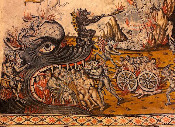 Pintures renaixentistes de l'església de Santa Maria d'Arties, 1580, el Judici Final, detall de l'escena de l'infern.Naut Aran, Val d'Aran, Lleida