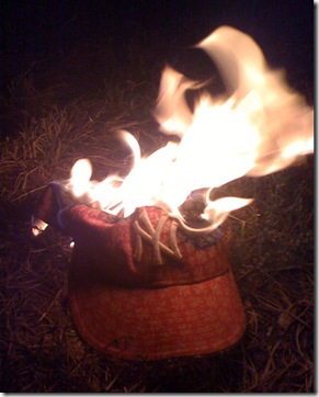 burning yankee hat