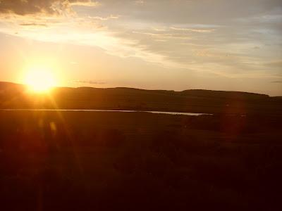 西シベリア平原の夕日