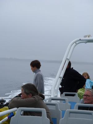 海を見るデッキの乗客