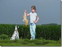 0453 17' Tall Girl & Dog west of Dunlap IA
