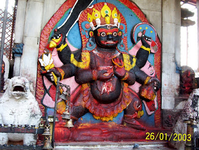 Seth Sicroff, Nepal - 12-foot high statue of Kala Bhairava, the fiercest aspect of Shiva