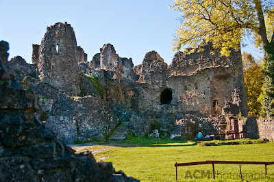 The ruins of Montaigle castle in the Wallonian region of Belgium are a popular picnic spot