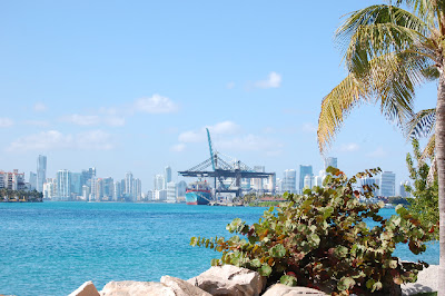 A view of downtown Miami from South Beach