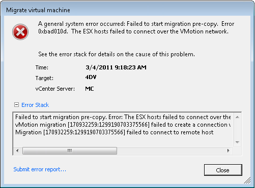 Migrate virtual machine error - a general system error has occured. Failed to start migration pre-copy