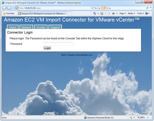 Amazon EC2 VM Import Connector for VMware vCenter web interface