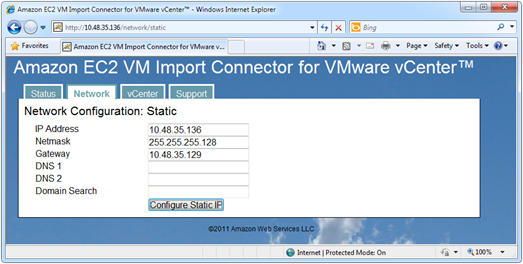 Amazon EC2 VM Import Connector for VMware vCenter static network configuration