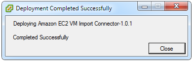 Deploy OVF Template: deployment completed successfully