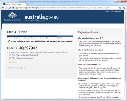 Australia.gov.au - final step of signup process