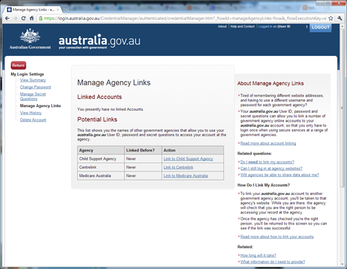 Australia.gov.au - manage agency links screen