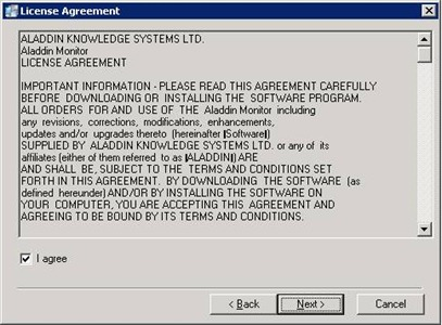 Aladdin HASP Monitor installer: license agreement screen