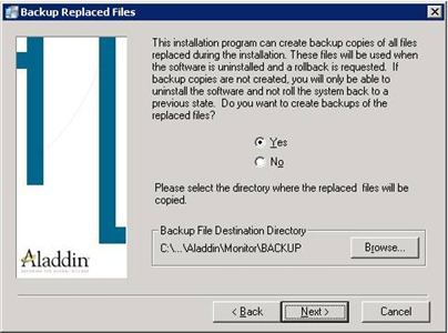Aladdin HASP Monitor installer: backup request screen