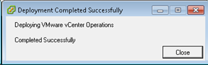 Deploying VMware vCenter Operations dialog box - complete