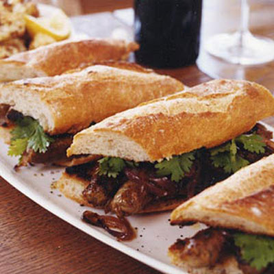Grilled Merguez Sandwiches with Caramelized Red Onions