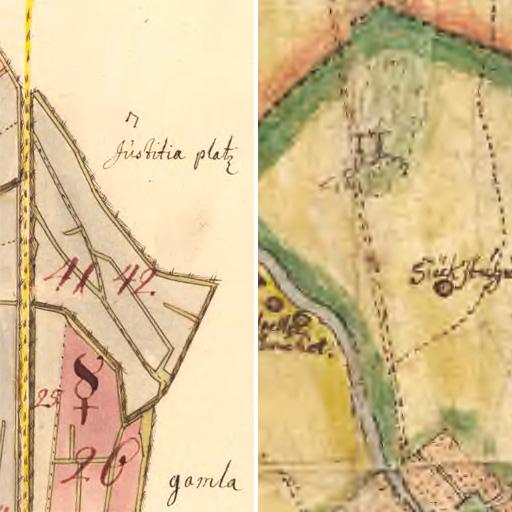 Två kartbilder från 1600-talet, avrättningsplatsen vid Galgbacken är markerad