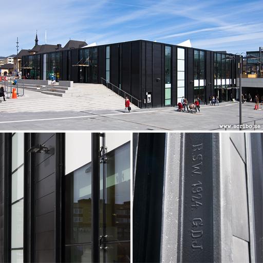 tre bilder på det nya stationshuser vi Uppsala resecentrum