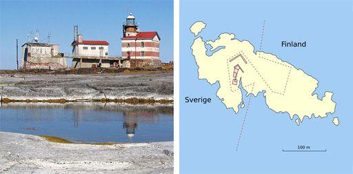 Ön Märket med fyrbyggnader och gränsdragning