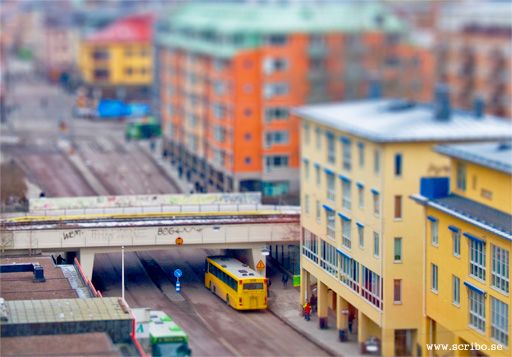 Tilt shift bild på Vaksalagatans viadukt
