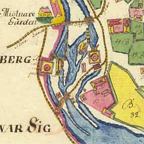 Karta över Fyrisåns flöde genom Vattholma 1757