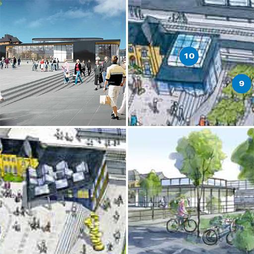 Flera illustrationer på Uppsala resecentrum