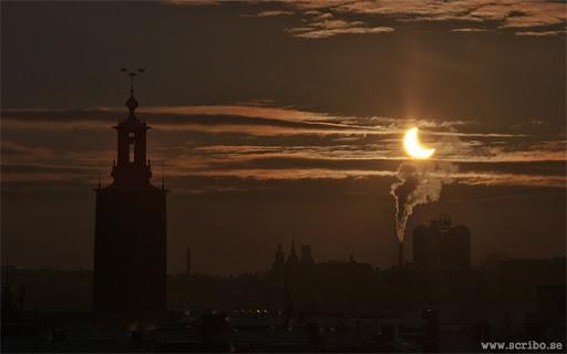 solförmörkelse över Stockholm 4 januari 2011