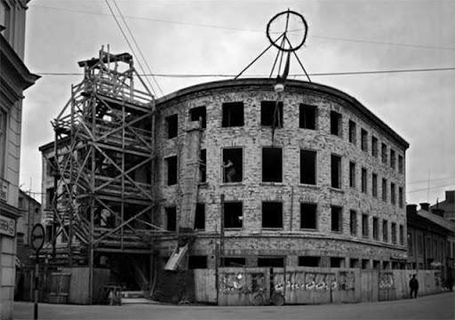 Uppsala stads el- och gasverk, kontorsbyggnad under uppbyggnad 1942