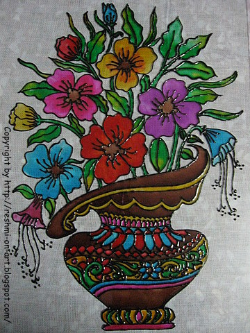 Glass Painting - Bunch of colourful flowers design