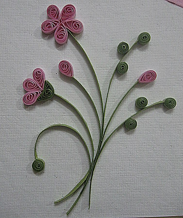 Pink-flowers-Quilling