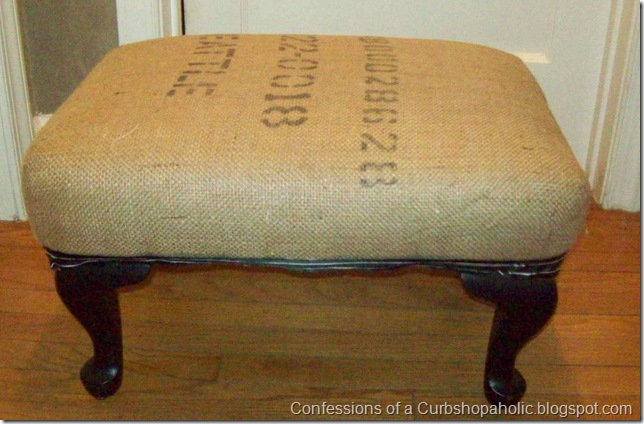 burlap covered ottoman 001