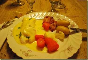 Dinner - Cod with Sandefiord Butter  - bacon - Carrots and Almond Potetoes
