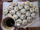 Killing time making sushi.