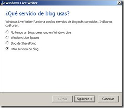 windows live writter selecciona servicio de blog