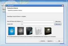 Seleccionar ruta de ficheros windows y USB win to flash