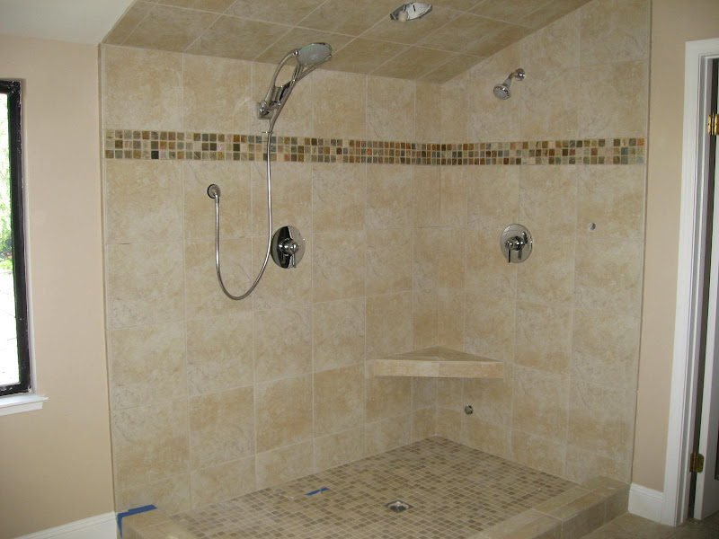 Travertine Tile Bathroom Shower. From Master Bath