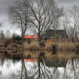 Reflections by Felix Cesare - Nature Up Close Water ( calm, water, canon, reflection, hdr, reflections, lake, house, slovakia, tree, autumn, serenity, peace, silence, trees, river )