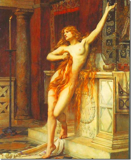 Hipatia, según versión de 1885 del pintor prerrafaelista inglés Charles William Mitchell.