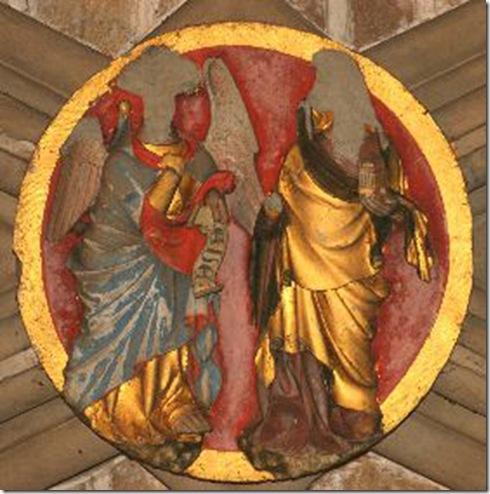 Clave de la Anunciación en el refectorio de la catedral de Pamplona