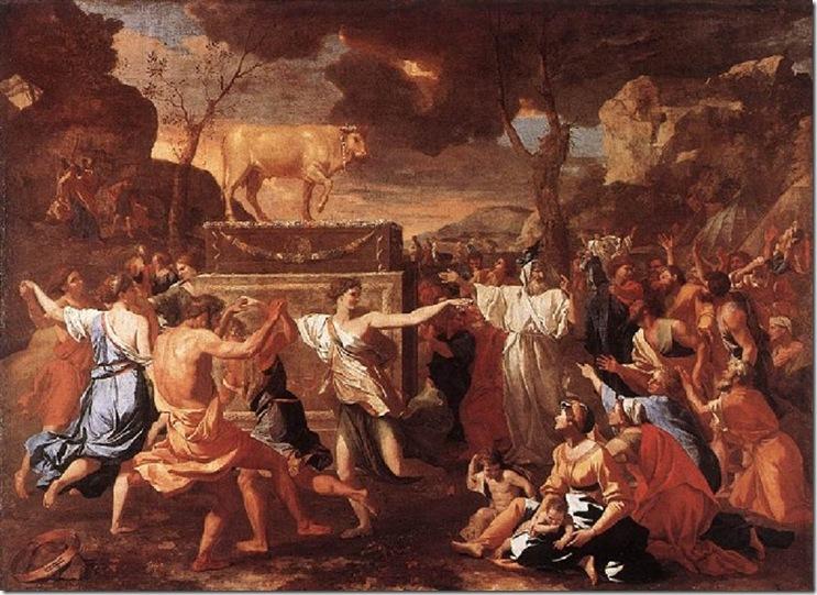 POUSSIN ADORACION DEL BECERRO DE ORO 1634