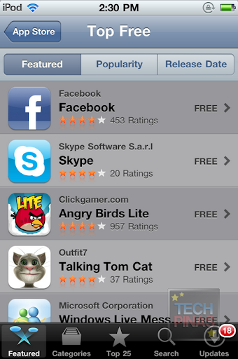 Apple has published its list of the top free applications from the App Store