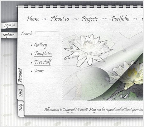 Note book style Web Page Design