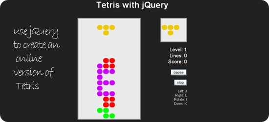use jQuery to create an online version of Tetris