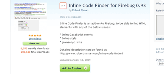 Inline Code Finder for Firebug