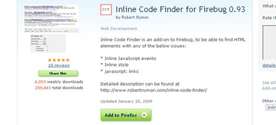 Inline Code Finder for Firebug