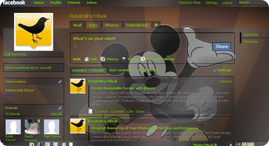 Facebook theme - Mickey mouse 2009